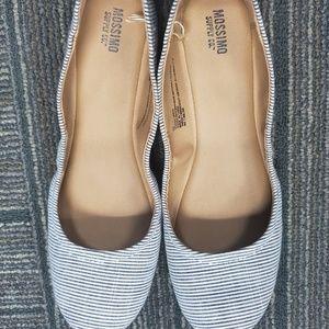 Mossimo Blue/White Striped Ballet Flat Size 9.5